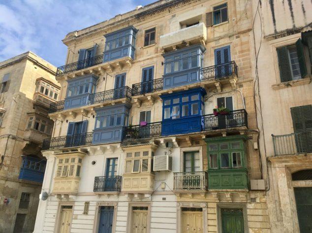 Blue and green balconies in Valletta Malta