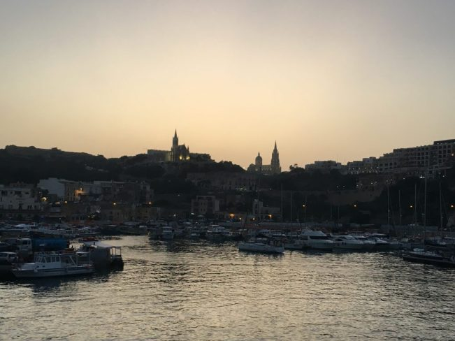 Mgarr Harbour at sunset in Gozo
