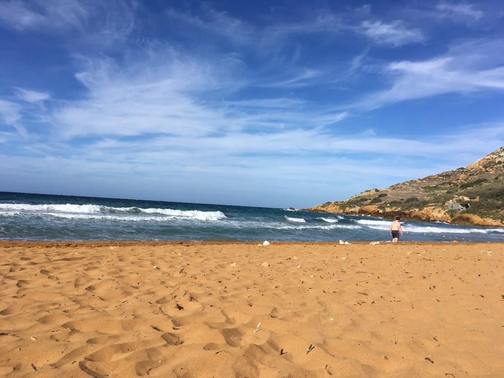 Golden sands and turquoise sea of Ramla Bay Gozo Malta