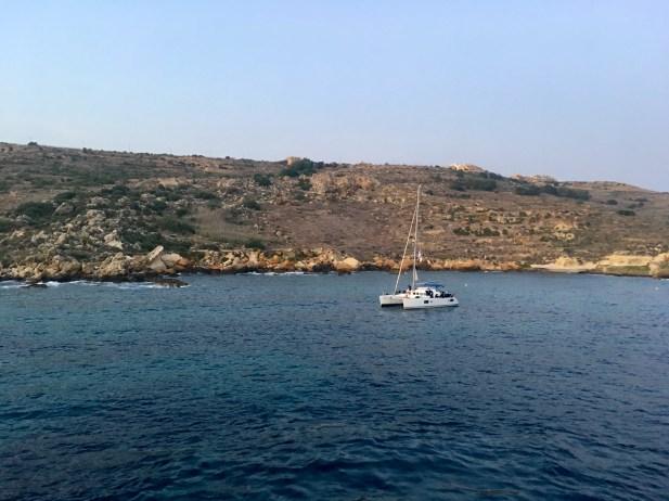 Sailboat off coast of Gozo, Malta