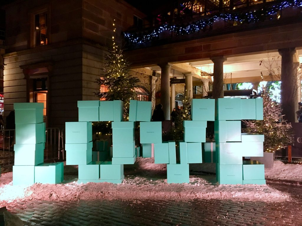Love spelled out by Tiffany & Co blue boxes as part of Covent Garden's Christmas decorations 2019