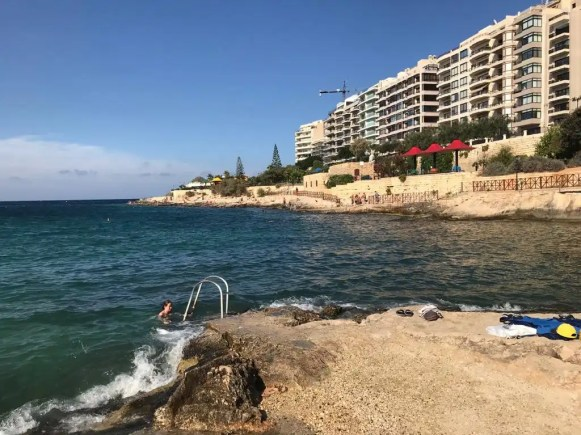 Swimming spot near Sliema in Malta