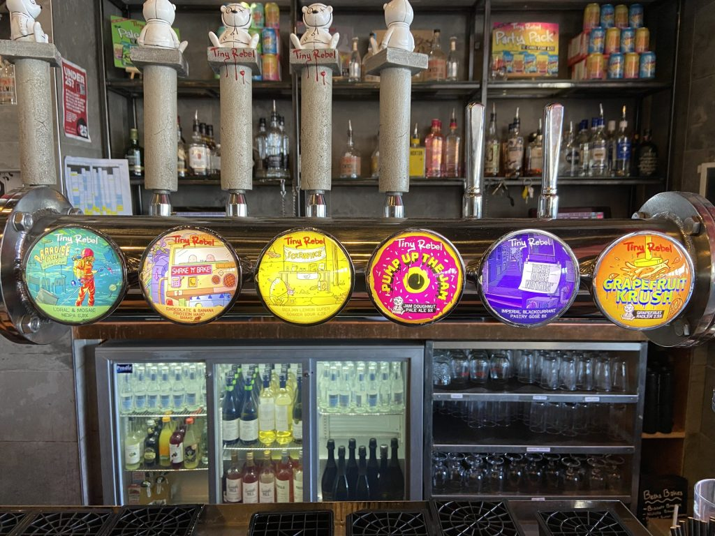 Selection of beers on tap at Tiny Rebel Brewery Bar in Newport, Wales