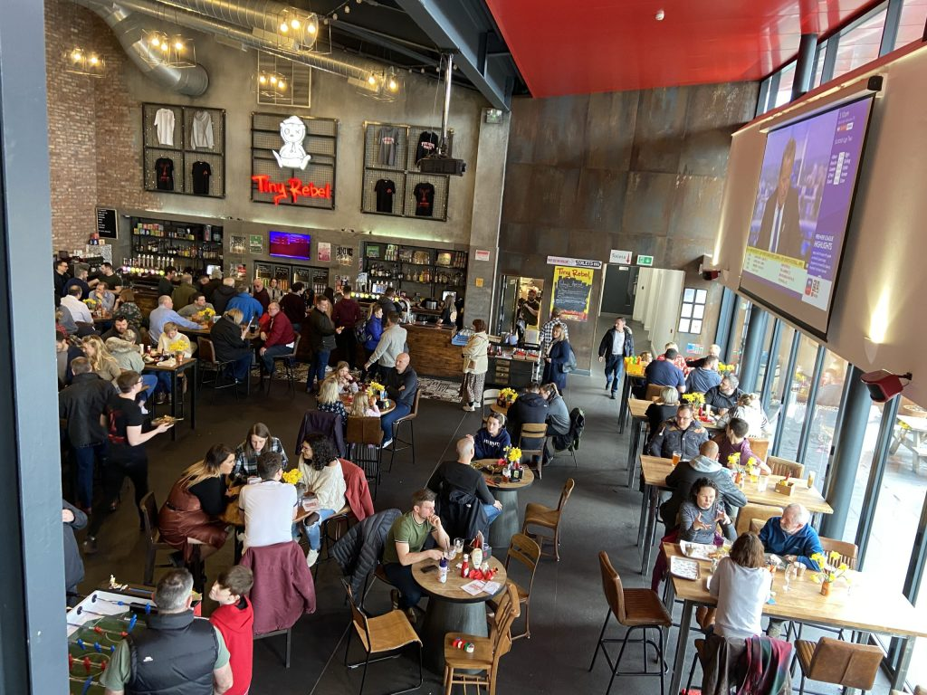 Interior of Tiny Rebel Brewery bar in Newport, Wales