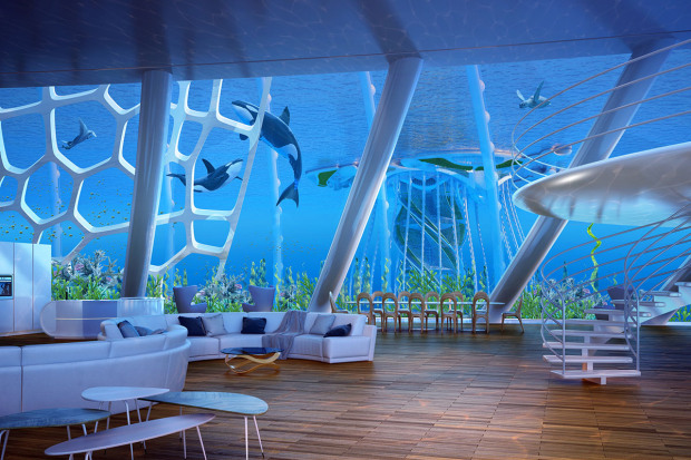 Pictured: These images show Vincent Callbaut's 'Aequorea', a village made up of the oceanscrapers. An architect has revealed spectacular plans for the world's first 'underwater skyscraper.'The extraordinary 'oceanscrapers' are capable of holding 20,000 people who live and work inside them. Architect Vincent Callebaut says the he designed the self-sufficient oceanscrapers as a viable for humans to live in to reduce our carbon footprint on the planet. The eco-friendly structures don't require dangerous fossil fuels as they produce their own energy and heat. SEE OUR COPY FOR DETAILS. Please byline: VINCENT CALLEBAUT ARCHITECTURES/Solent News © VINCENT CALLEBAUT ARCHITECTURES/Solent News & Photo Agency UK +44 (0) 2380 458800