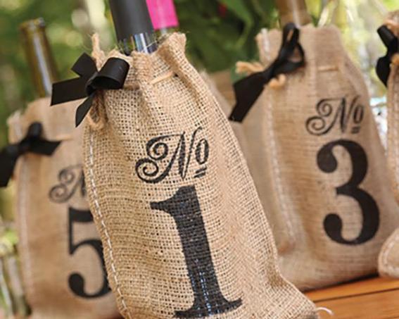 printed burlap table numbers on offbeat bride