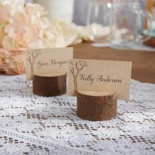 rustic wooden placecard holder on offbeat bride