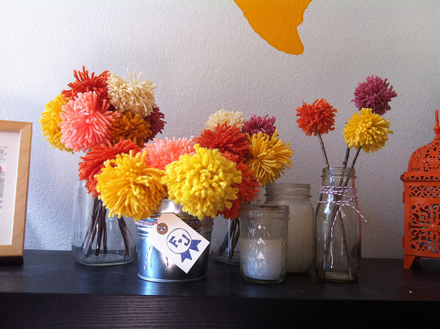 yarn poofball centerpieces