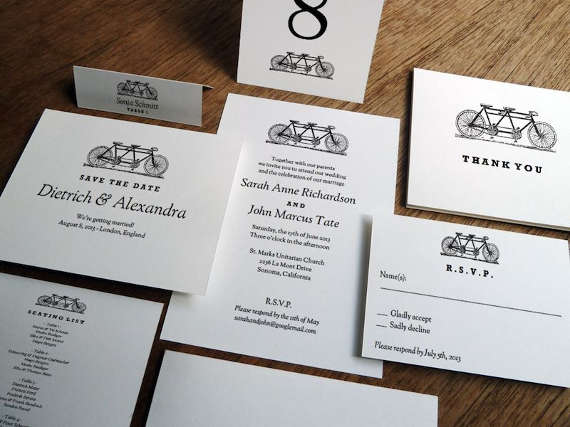 The Black and White Printable Wedding Set - Bike. This is just $10!