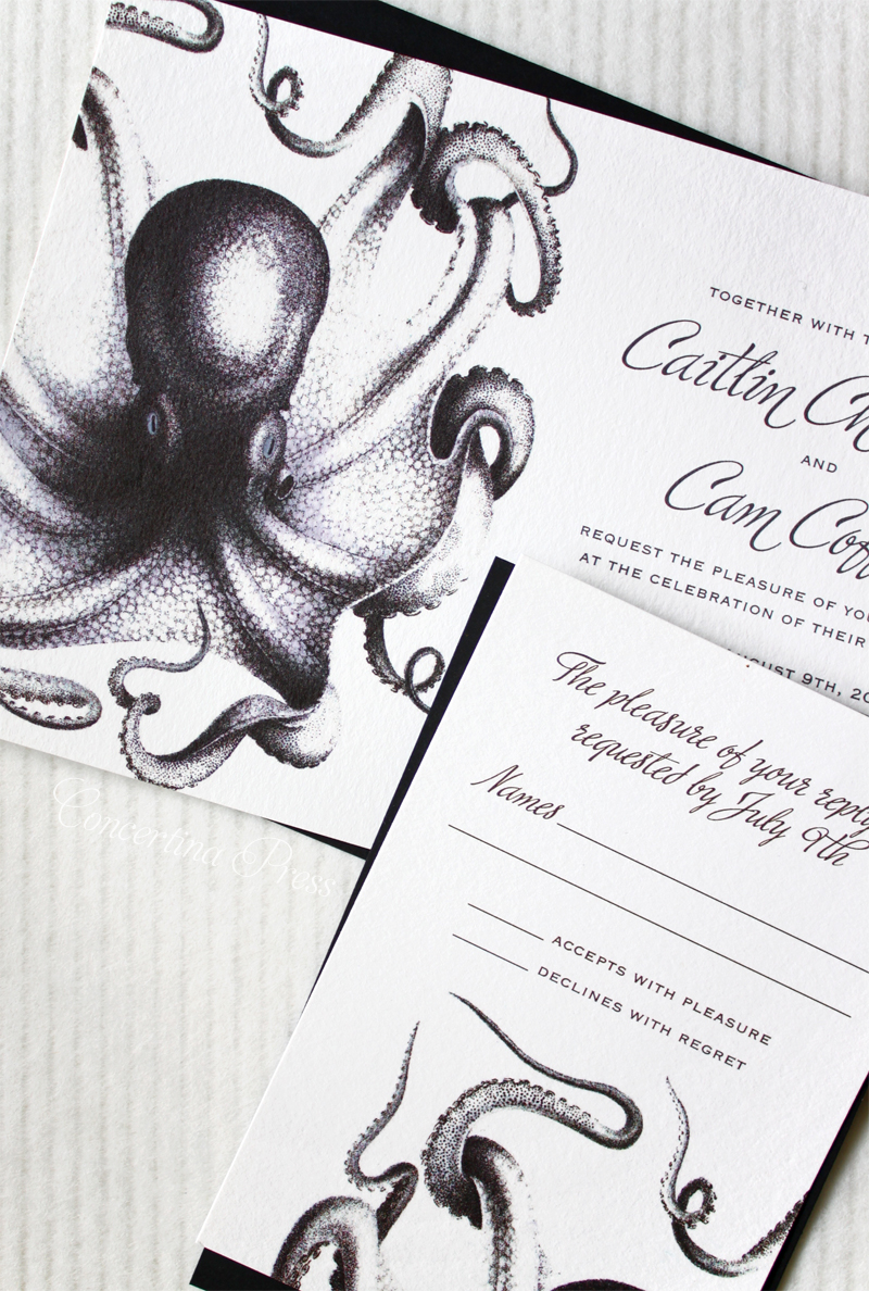 Black and White Octopus Wedding Invitation by Concertina Press