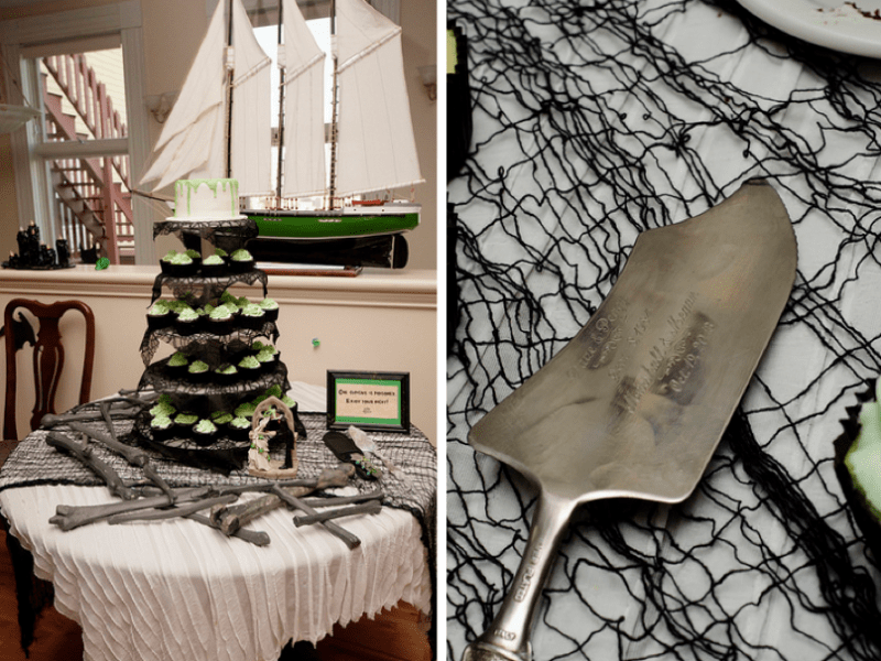 Halloween-themed wedding cake and antique server.
