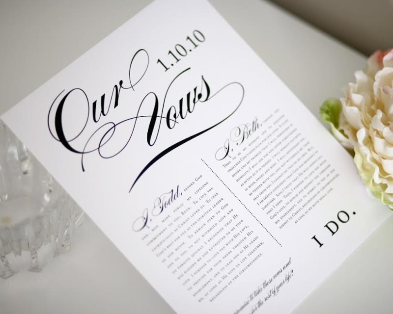 wedding vows print