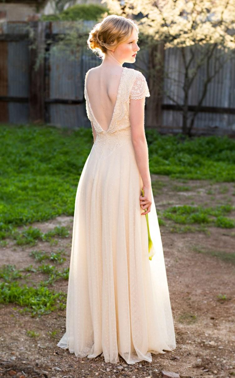 I love the tiny polka dot lace on the Molly wedding dress.