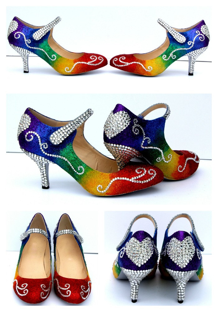Rainbow Glittered Mary Jane Heels with clear swarovski crystals