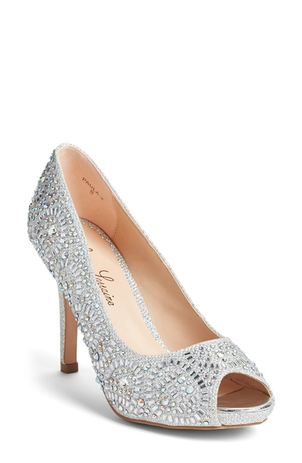 sparkly silver shoes in small sizes on offbeat bride