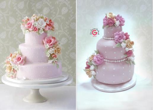 mini wedding cake replica ornament on offbeat bride (3)