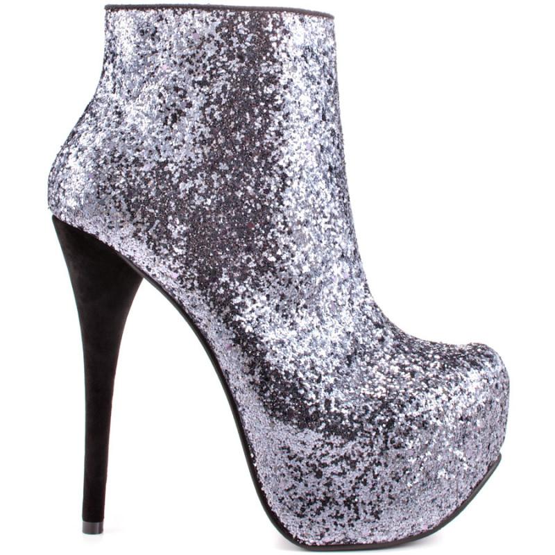 high heel silver bootie