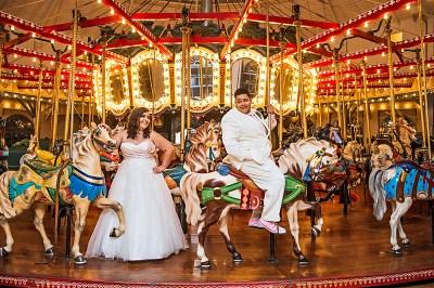 Genderqueer, sweets-loving, carousel wedding as seen on @offbeatbride