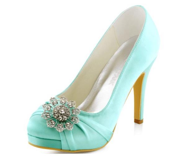 aqua wedding shoes on offbeat bride