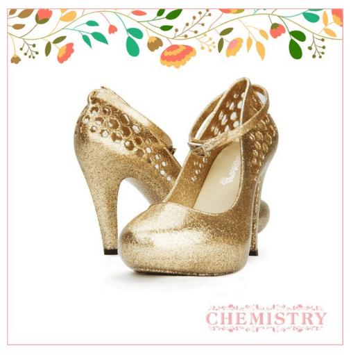 gold sparkly heels on offbeat bride