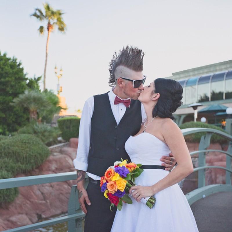 Awesome haired groomsmen at this Arizona wedding as seen on @offbeatbride #weddings #mohawks