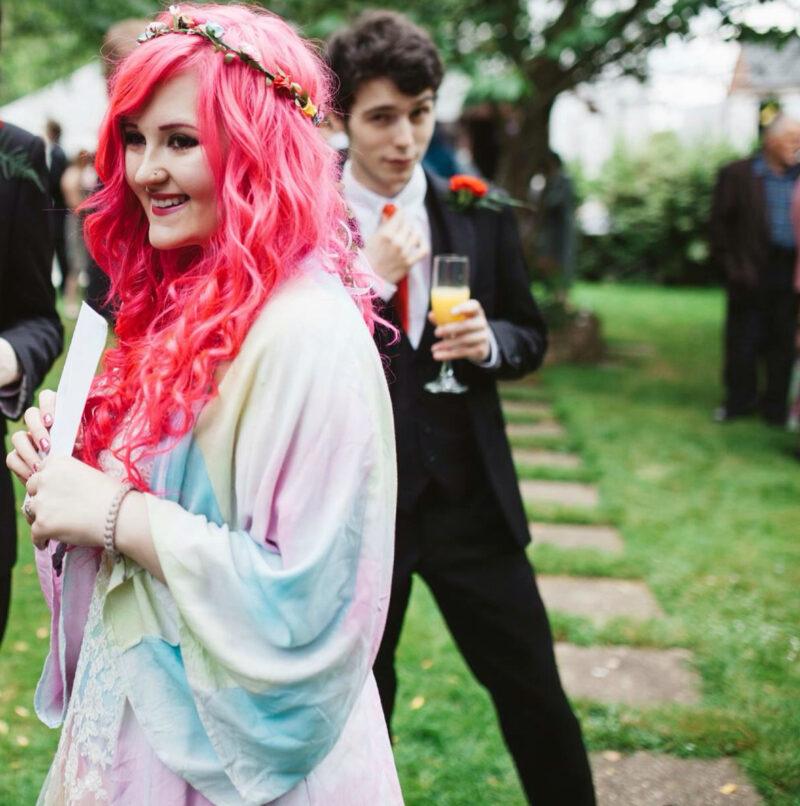 uk pink hair wedding on offbeat bride