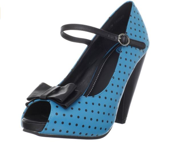 blue polkadot shoes on offbeat bride