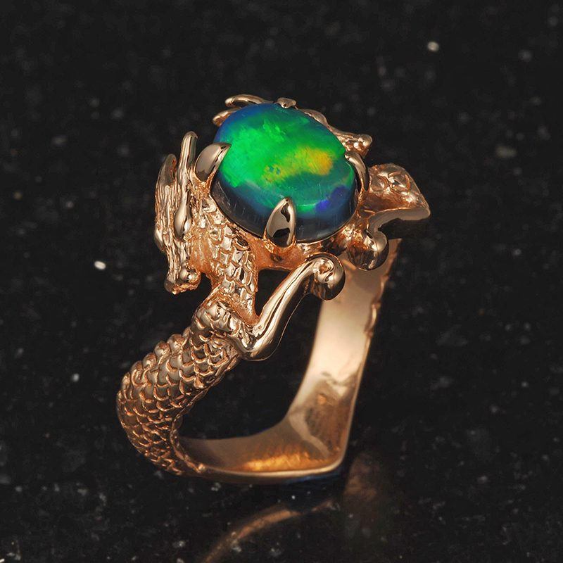 Opal and dragon ring.
