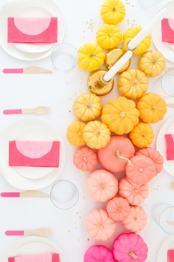 Painted pumpkins fall centerpiece idea