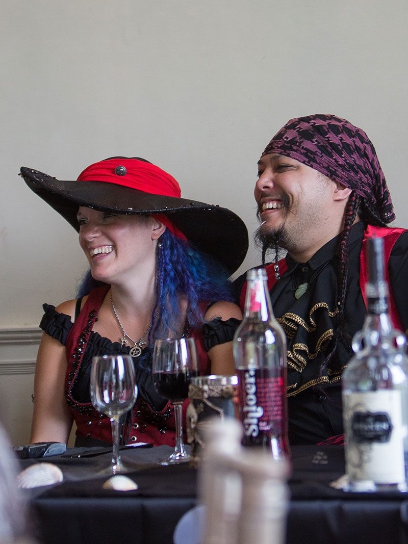 It's not a pirate wedding without vegan food and blue hair!