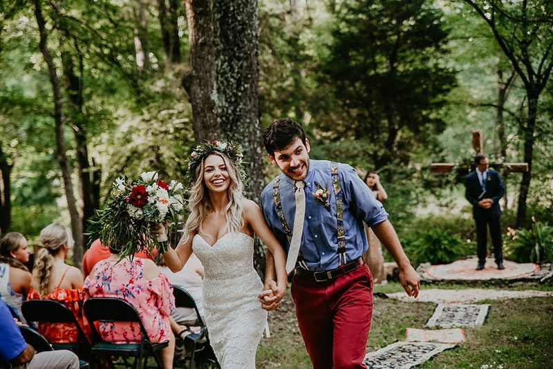 Be swept away by this woodland backyard Kentucky wedding