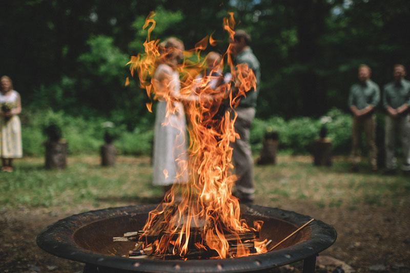 Poconos nature-filled camp wedding