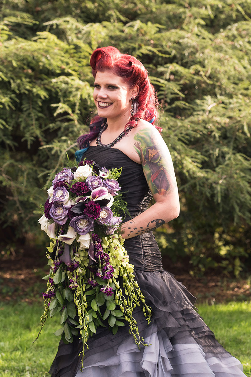 A goth meets nerd meets glam wedding with on-site ring tattoos