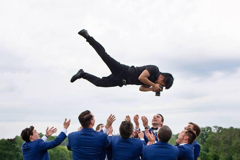 high-flying wedding photographer
