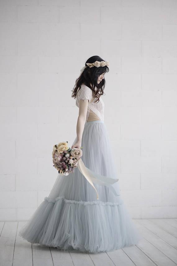 grey wedding gowns