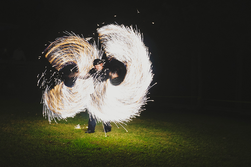 Tim Burton meets fire dancing at this twisted black tie wedding