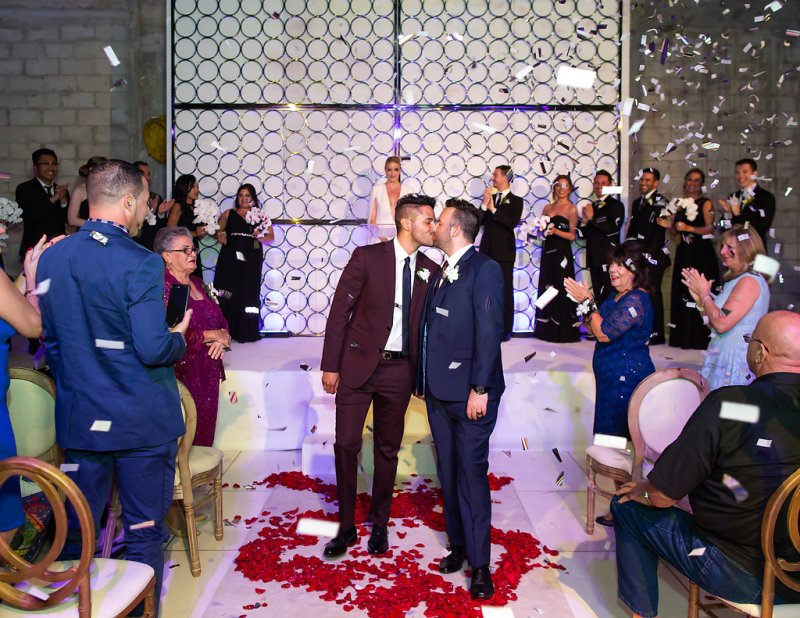Prepare to swoon these stylish grooms and their swanky and chic wedding