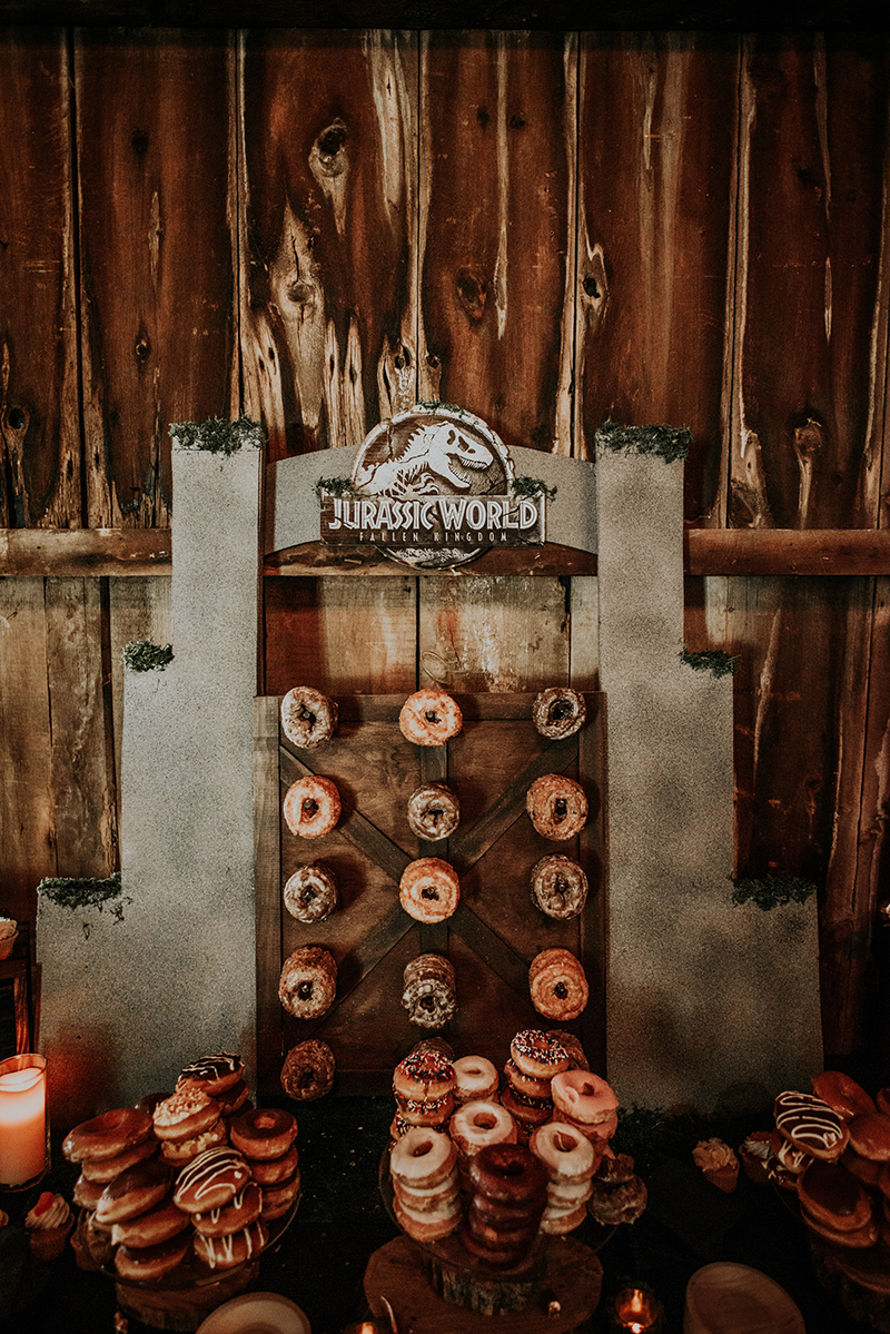 A Jurassic wedding with a real park vehicle and dino attack