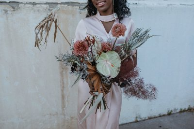 Muted industrial vibes at this tropical engagement inspiration