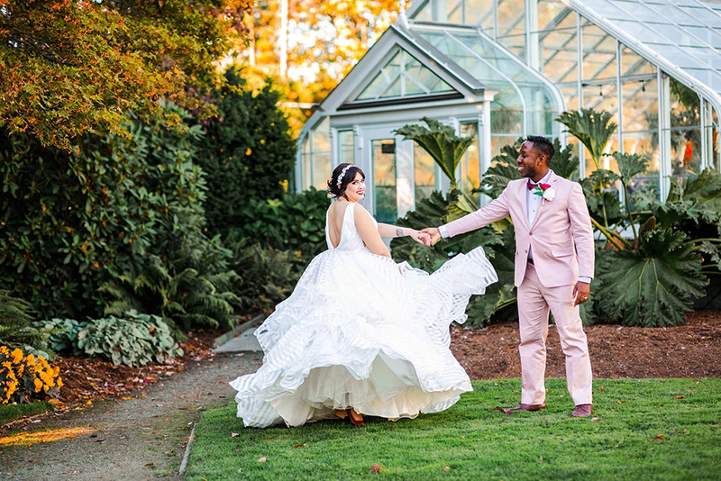 You'll need to fan yourself from the pink suit & striped dress at this romantic Sunday wedding