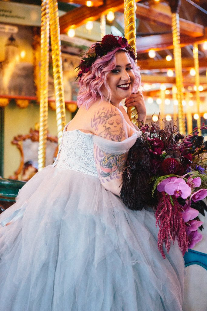 From hints of purple to goth glam: these Halloween wedding dresses are spooktacular