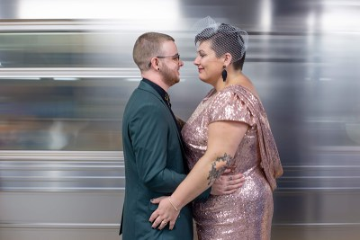 A queer sequined Monday morning microwedding with a monster milkshake