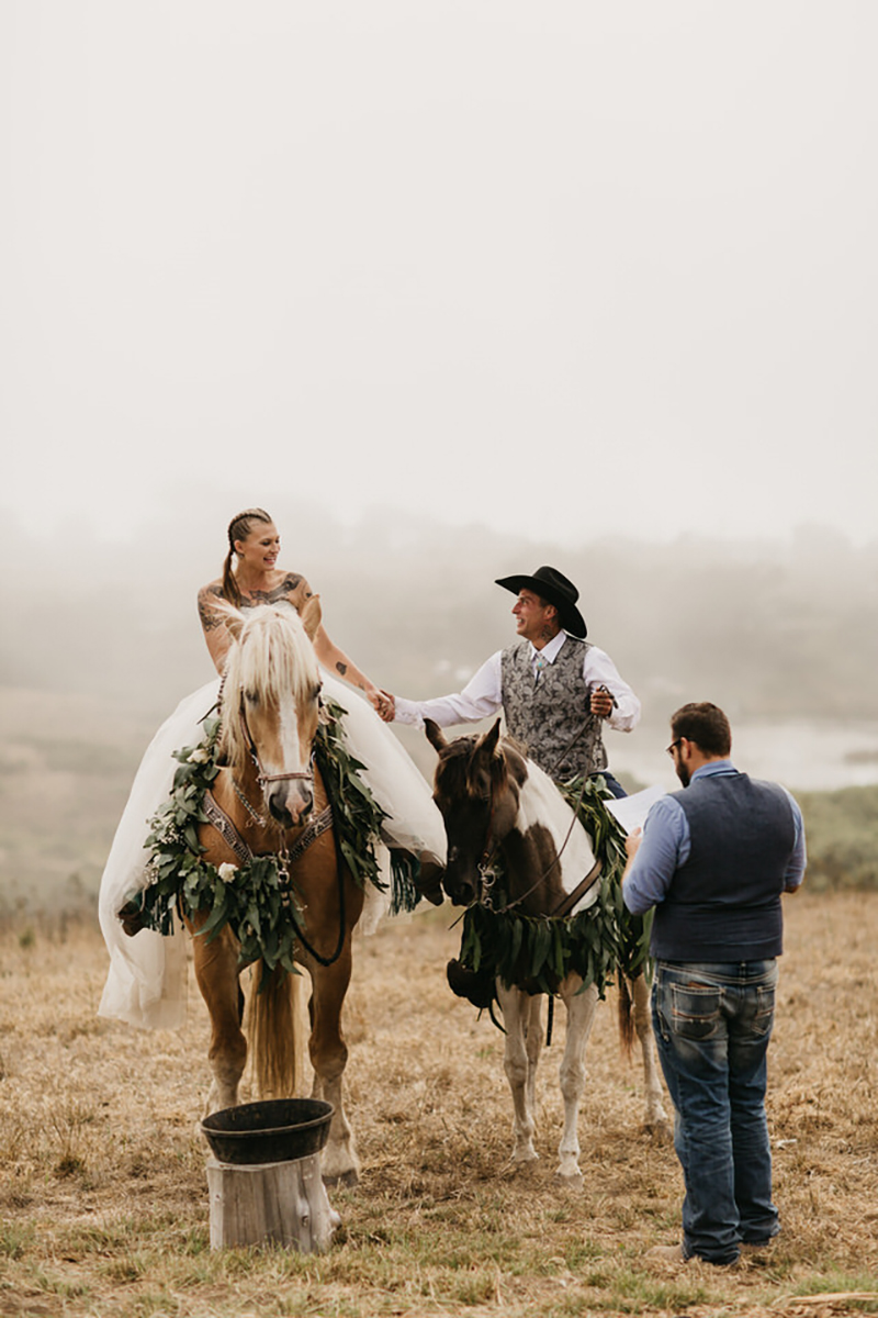 A horseback ceremony(!) at this misty horse ranch wedding with DIY for days