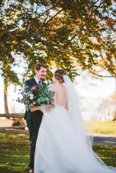 A tea party wedding with dinosaurs, DIY, & a gorgeous gown made by the bride