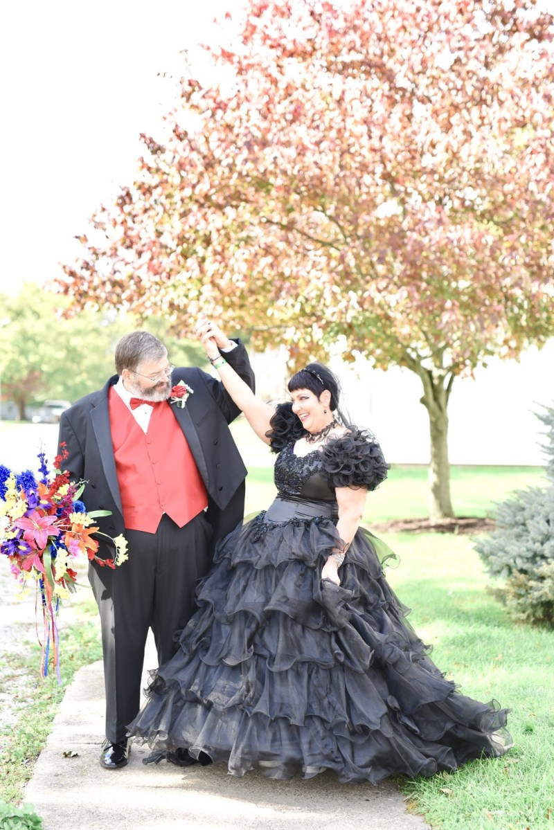 This bride bought her black dress 30 years ago and finally got to wear it at her spooktacular wedding