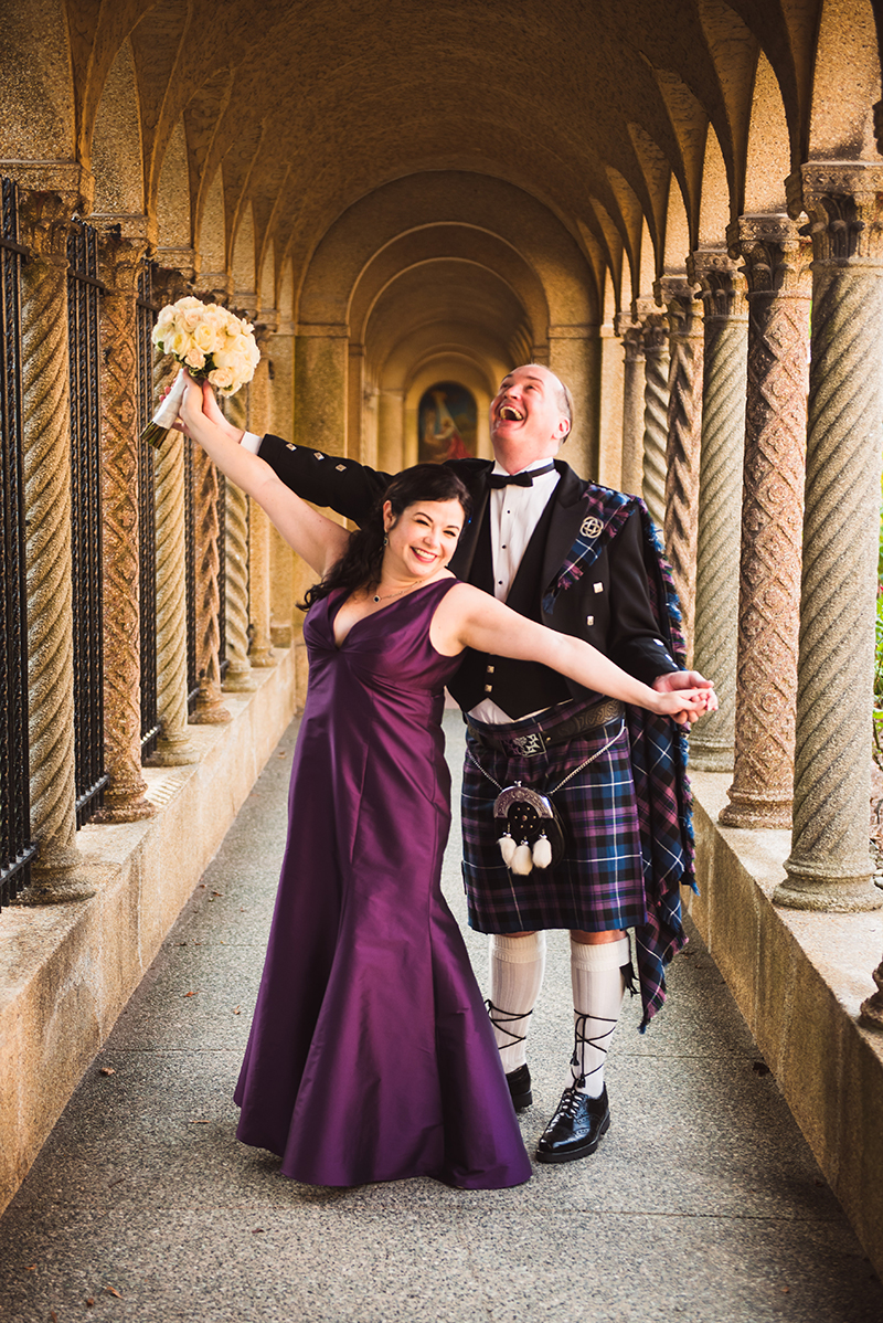 Sword fights & purple kilts at this dance party wedding with an Oreo toast
