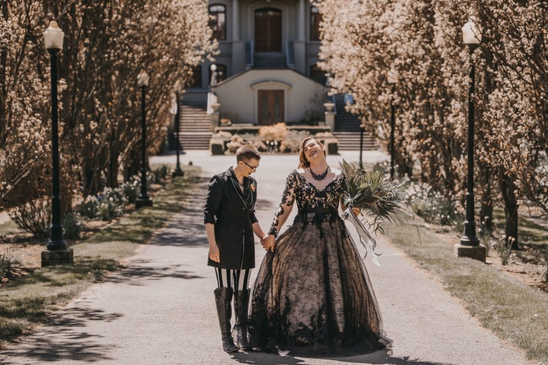 We fell in love with this non-binary couple & their urban botanical-style romance