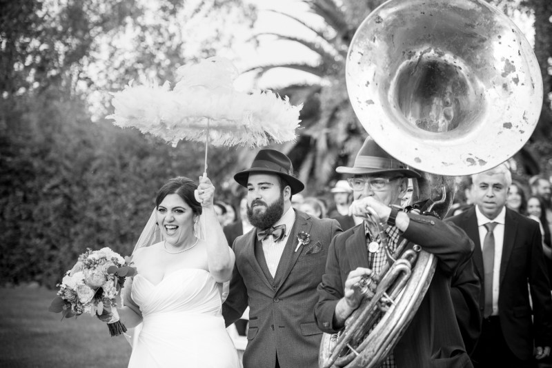 Vinyl, brass bands, & epic food made this music lovers' Sonoma wedding rock