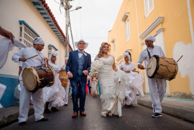 A spectacle of dance & color await at this Caribbean destination wedding in Columbia