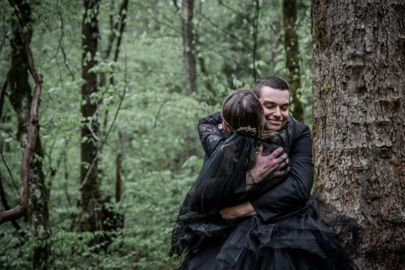 Dark & romantic style meets a wedding chapel in the woods